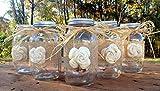 Set of 5 Rustic Mason Jars with Sola Flower - Rustic Wedding Decor - Wedding Mason Jars - Mason Jar Centerpieces - Ball Mason Jars