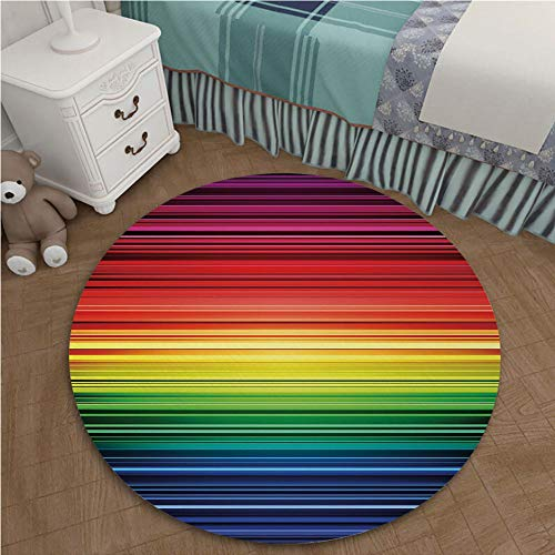 Color Printed Carpet Anti-Slip Floor Rug Soft Baby for Living Room Bedroom 1.96 Ft Diameter Abstract,Digital Rainbow Stripes with Gradient Neon Effects Featured Horizontal Bands Print,Multicolor