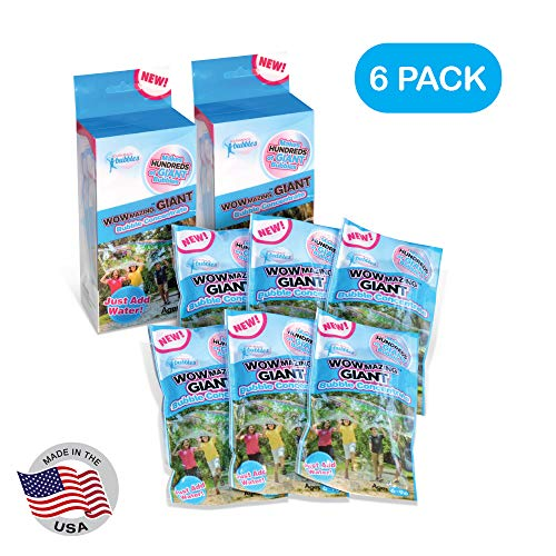 WOWMAZING Giant Bubbles Solution Concentrate - Making Ginormous Bubbles (6 Pouches) - Just Add Water - Made in USA