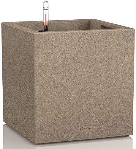 Lechuza CANTO Stone low 40, sandbeige, Hochwertiger Kunststoff, Inkl. Bewässerungssystem, Herausnehmbarer Pflanzeinsatz, für Innen- und Außenbereich, 13721