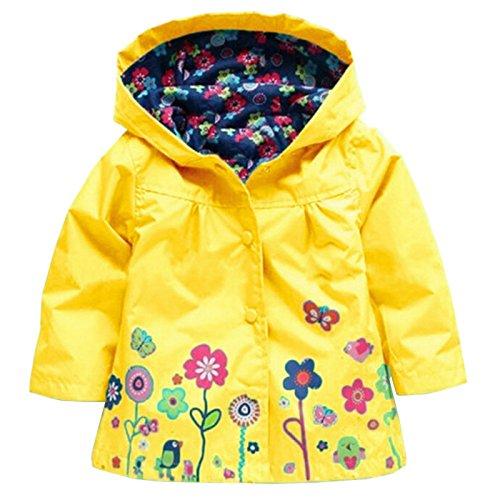 Wennikids Baby Girl Kid Waterproof Floral Hooded Coat Jacket Outwear Raincoat Hoodies Medium Yellow by Wennikids