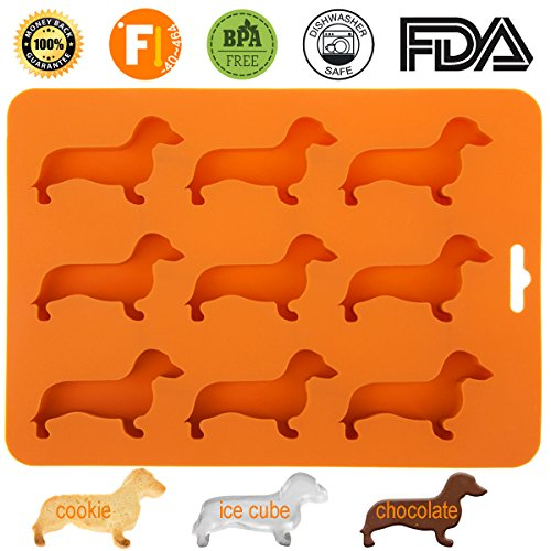Ice Trays Ice Mold Candy Mold Silicone Ice Cube Trays in Dachshund Dog Shaped with BPA free Silicone