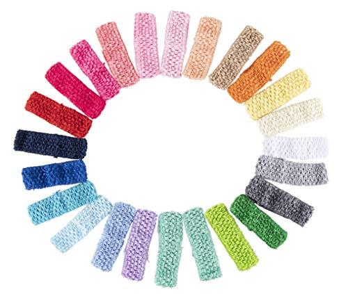 Crochet Headband- 24-Pack Elastic Headband, Head Wraps, Yoga Headband, Hair Hoops, Perfect Fashion Accessory for Women, Girls, Toddlers, Teens, 24 Assorted Colors, 1.625 x 5.625 -
