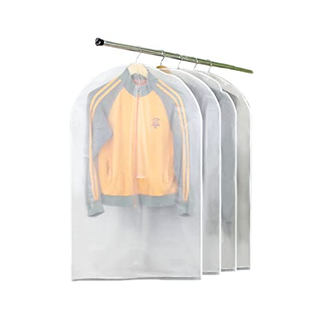 Garment Covers For Clothes,4pcs 40u201dHX24u201dW Clear Garment Bag,PEVA