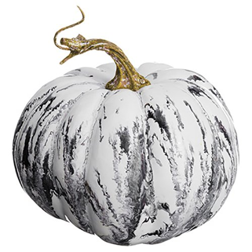 SilksAreForever 4.5'' Hx6 W Artificial Weighted Marble Look Pumpkin -Gray/White (Pack of 12)