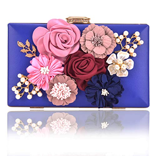 Women Flower Clutches Handbags Designer Evening Bags Prom Party Wedding Cocktail Purses with Pearls Beaded (Royal (Metallic Satin Clutch)