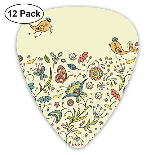 Guitar Picks 12-Pack,Flourishing Spring Meadow Ornate Artistic Nature Romantic Birds Butterflies Leaves
