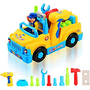 QuadPro Truck Take Apart Toys for Boys Girl With Electric Drill and Various Take-A-Part Tools, Lights and Music, Construction Car Stem Toys for Kids