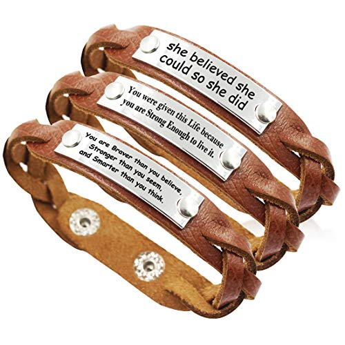 YOYONY Men's/Women's Inspirational Message Braided Leather Bracelets/Bangles for ()