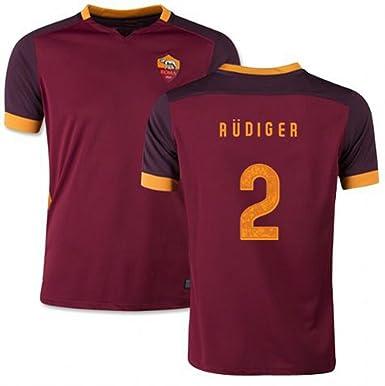 new concept b75ed de45d 2016 AS Roma FC Home Jersey #2 Antonio Rudiger Italy Men's ...