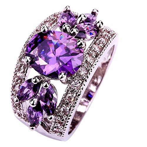 yazilind wedding band bridal jewelry ring alloy cz cubic zirconia engagement women size10 - Purple Wedding Ring