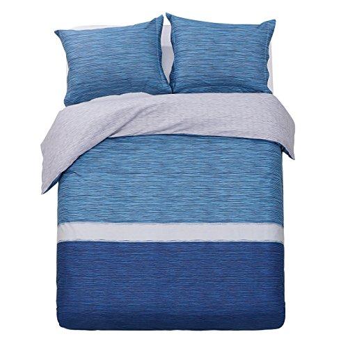 Striped Duvet Set (Word of Dream 200TC 100% Cotton Striped Print Duvet Cover Sets 3 PC, Heather Pattern,)