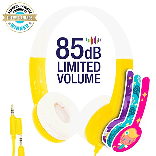 BuddyPhones Volume Limiting Kids Headphones - Durable, Comfortable & Customizable - Built in Headphone Splitter - Ideal for iPad, Kindle, Computers and Tablets - Yellow