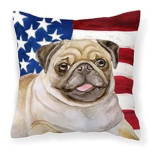Caroline 's Treasures BB9718PW1818 Fawn Pug Patriotic Outdoor - Almohada de lona, multicolor