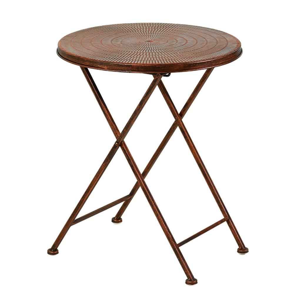 YANFEI 折りたたみテーブル, 鉄のレジャー小さな丸いテーブルポータブルサイドテーブル折りたたみ小さなコーヒーテーブル、39 * 51センチメートル   B07KW6ZNSR