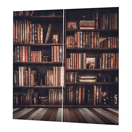(Baoblaze 2 Panels/Set Eyelet Ring Top Anti-UV Thermal Blackout 3D Print Vintage Photo Curtains - Bookcase)