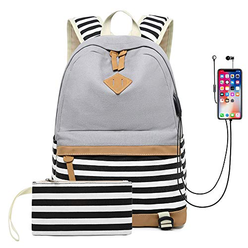 Waterproof Canvas Backpack for College Girls Women USB, Grey, Size Medium