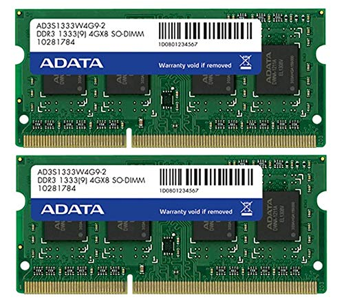 (8GB AData DDR3 PC3-10666 1333MHz CL9 204-pin Dual Channel Laptop Memory Kit (2x4GB))
