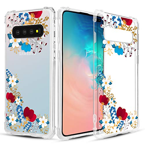 Caka Clear Case for Galaxy S10 Plus Clear Floral Case Flower Pattern Floral Series Slim Girly Anti Scratch Excellent Grip Premium Clarity TPU Crystal Case for Samsung Galaxy S10 Plus (Red Blue)