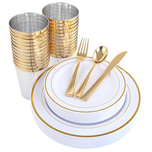 Gold Plastic Plates & Plastic Silverware & Gold Cups 150 Piece, Premium Disposable Dinnerware Set Includes: 25 Dinner Plates, 25 Dessert Plates, 25 Tumblers , 25 Forks, 25 Knives, 25 -