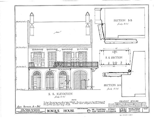 Historic Pictoric Blueprint Diagram HABS LA,36-NEWOR,19- (Sheet 3 of 16) - Bosque House, 617-619 Chartres Street, New Orleans, Orleans Parish, LA 14in x 11in ()