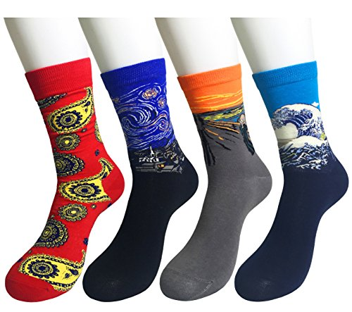 WEILAI Men's 4 Pairs Famous Collection Painting Crew Cotton Socks (Cheap 80s Fancy Dress)
