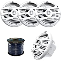 2 Pairs of  Kenwood KFC-1653MR 6.5 Inch 150 Watt 2-way Marine Boat Yacht Audio Speakers Bundle Combo With Enrock 50 Feet 16-Gauge Speaker Wire (White)