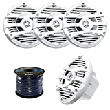2 Pairs of  Kenwood KFC-1653MR 6.5'' Inch 150 Watt 2-way Marine Boat Yacht Audio Speakers Bundle Combo With Enrock 50 Feet 16-Gauge Speaker Wire (White)
