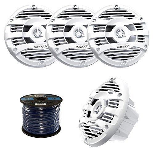 """2 Pairs of Kenwood KFC-1653MR 6.5"""" Inch 150 Watt 2-way Marine Boat Yacht Audio Speakers Bundle Combo With Enrock 50 Feet 16-Gauge Speaker Wire (White)"""