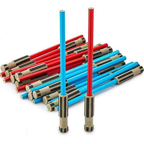Light Saber Pencils Party Favors, Set for Kids 24 pack of Red and Blue Pencils with 3D Top Gifts Supplies for Star Wars Fan Boys Girls Teen Tween Adult -