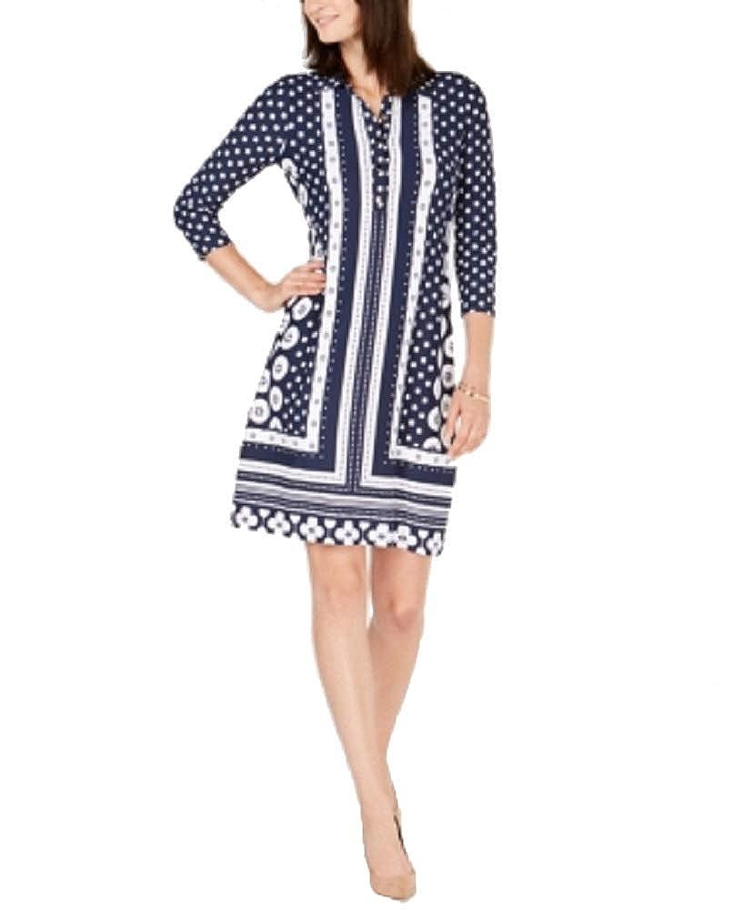Intrepid bluee Dots Charter Club Printed Shirt Dress