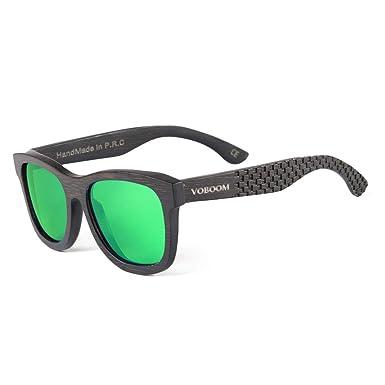 198d42c9fd VOBOOM Men Women Carbonized Bamboo Sunglasses Polarized Wood frame  Sunglasses Eyewear with original package G-S001-T (01 Black Frame Green  Mirrored)  ...