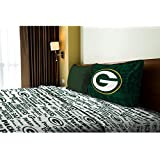 3 Piece NFL Packers Anthem Sheet Twin Set, Football Themed Bedding Sports Patterned, Team Logo Fan M
