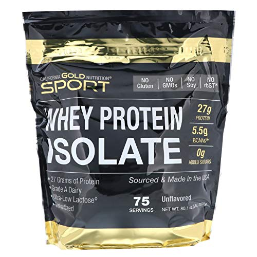 California Gold Nutrition, Whey Protein Isolate Instantized, Ultra-Low Lactose, Unflavored, 75 Servings 5 lbs (2270 g), Egg-Free, Fish Free, Gluten-Free, Shellfish Free, Soy-Free, Sugar-Free, CGN