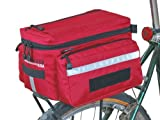 Bushwhacker Mesa Red - Bicycle Trunk Rack Bag w/ Rear Light Clip Attachment & Reflective Trim Cycling Rack Pack Bike Rear Bag Frame Front Accessories