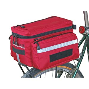 Bushwhacker Mesa Red Bicycle Trunk Rack Bag w/ Rear Light Clip Attachment & Reflective Trim Cycling Rack Pack Bike Rear Bag Frame Front Accessories