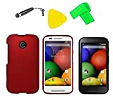 Phone Cover Case Cell Phone Accessory + Extreme Band + Stylus Pen + LCD Screen Protector + Yellow Pry Tool For Straight Talk Tracfone NET10 Motorola Moto E XT830C (Red)