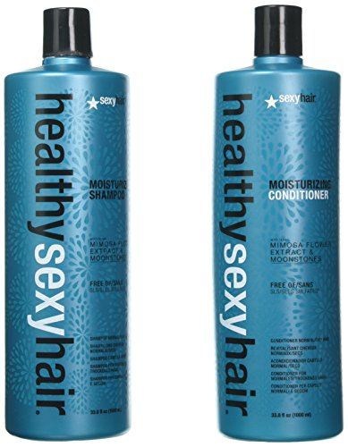 Healthy Sexy Hair Sulfate-Free Soy Moisturizing Shampoo and Conditioner Liter (Soy Milk Shampoo)