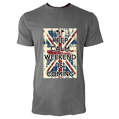 SINUS ART® Keep Calm Weekend Is Coming Herren T-Shirts in Grau Charocoal Fun Shirt mit tollen Aufdruck