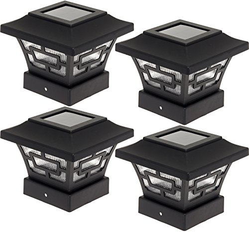 Westinghouse  Hilltop 20 Lumens Solar Fence Post Cap Lights for 4x4 Wood Posts (Black, 4 Pack)