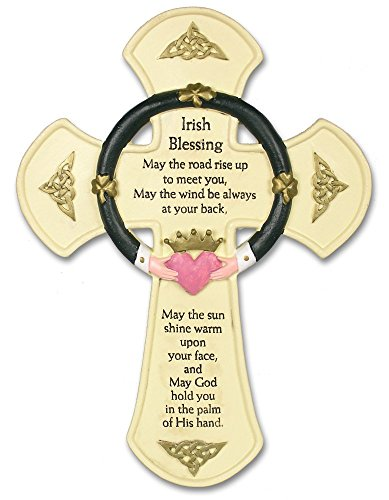 Irish Blessing Cross (Irish Wall Cross - Traditional Irish Blessing Saying Printed on a Cross Wall Hanging - Claddagh Design - Stone Look - Wall Hanging - Irish Decor)