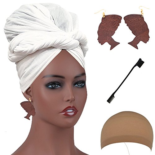 - Long Stretch Head Wrap Set- Solid Color African Turban Hair Scarf Tie, Double Sided Edge Control Hair Brush Comb Combo,Wooden Colored Turban African Woman Earrings,Wig Cap (OneSize, White)