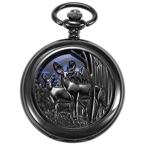 ManChDa Reindeer Pocket Watch Black Hollow Case Double Open Skeleton Mechanical for Men Women (Roman Head Wear)