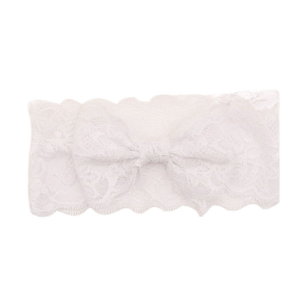 Vovotrade Fashion Lace Big Bow Hair Band; Baby Head Band Accessories (White)