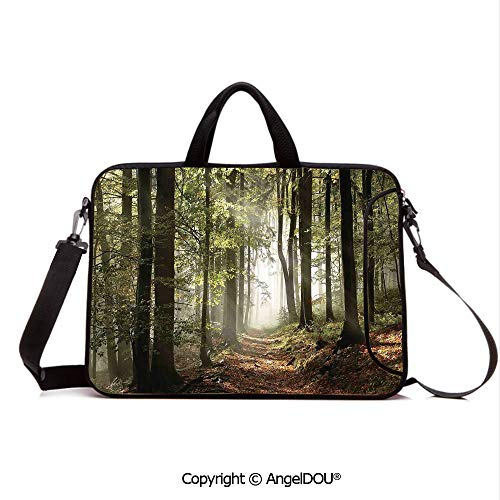 AngelDOU Neoprene Laptop Shoulder Bag Case Sleeve with Handle and Extra Pocket Autumnal Forest Pathway in The Mountains with Mist in The Distance Wilderness Sc Compatible with MacBook/Ultrabook/HP/A