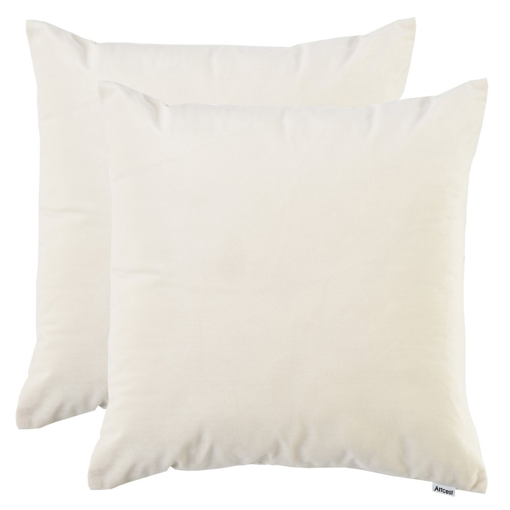 Artcest Set of 2, Cozy Solid Velvet Throw Pillow Case, Decorative Couch Cushion Cover, Soft Sofa Euro Sham with Zipper Hidden, 16''x16'' (Off White)