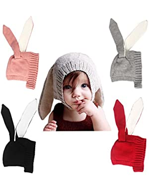 Baby Toddler Kids Boy Girl Knitted Crochet Rabbit Ear Beanie Winter Warm Hat Cap