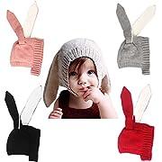 xsby Kids Winter Beanie Hat, Baby Infant Knit Hat Crochet Bunny Ear Warm Hat For Winter Grey(Plus Cashmere)