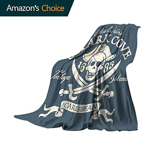 (Pirate Sand Free Beach Blanket,Shark Cove Tortuga Island Caribbean Waters Retro Jolly Roger Soft Summer Cooling Lightweight Bed Blanket (90