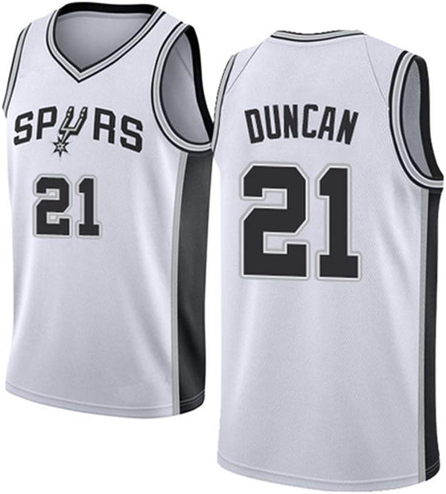WRHH Basketball /ärmellose Jersey-Sporen 21# Tim Duncan Basketball Team Jersey Herren Vintage Jersey Coole atmungsaktive Stoff